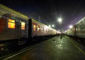 Trans-Mongolian train at night