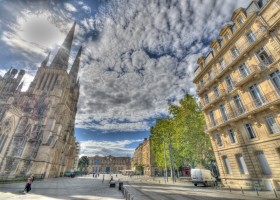 bordeaux france church square in hdr