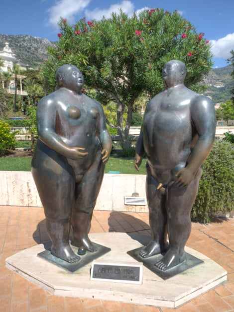 botero statue of adam and eve in monaco