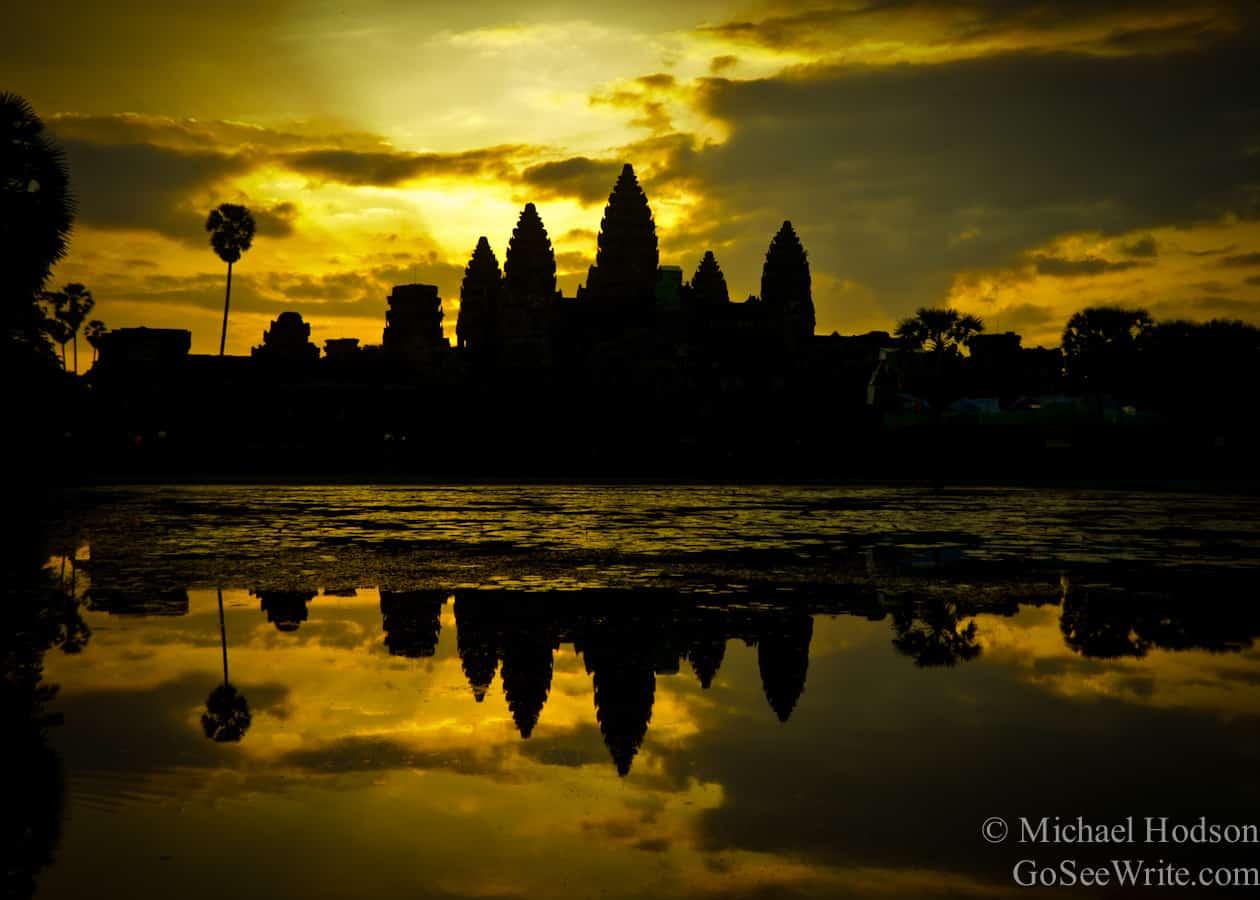 pre sunrise angkor wat temple cambodia