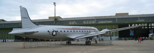 us air force troop carrier plane at berlin tempelhof airport