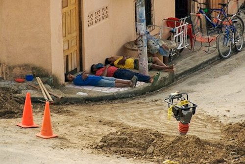 workers taking afternoon siesta