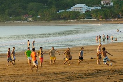 soccer game on beach with kids