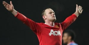 Manchester United Wayne Rooney arms raised