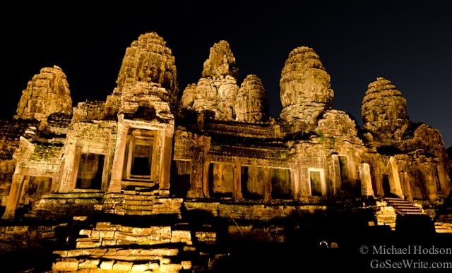 bayon temple at night angkor wat complex siem reap cambodia