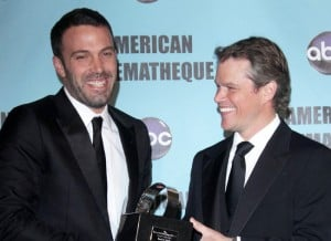 matt damon with ben affleck getting award