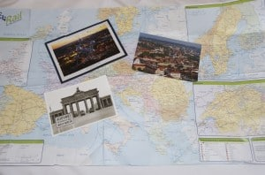 postcards from europe on a map