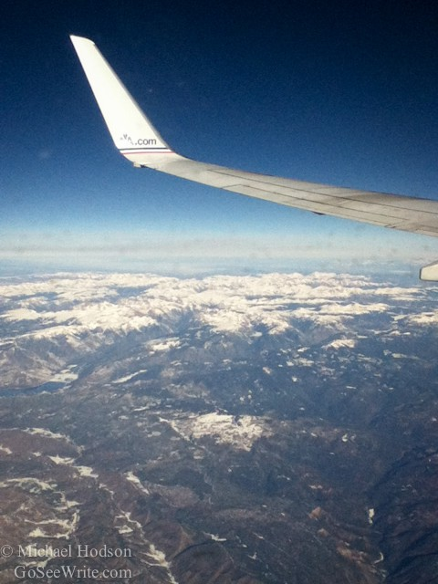 the Rocky Mountains from the window