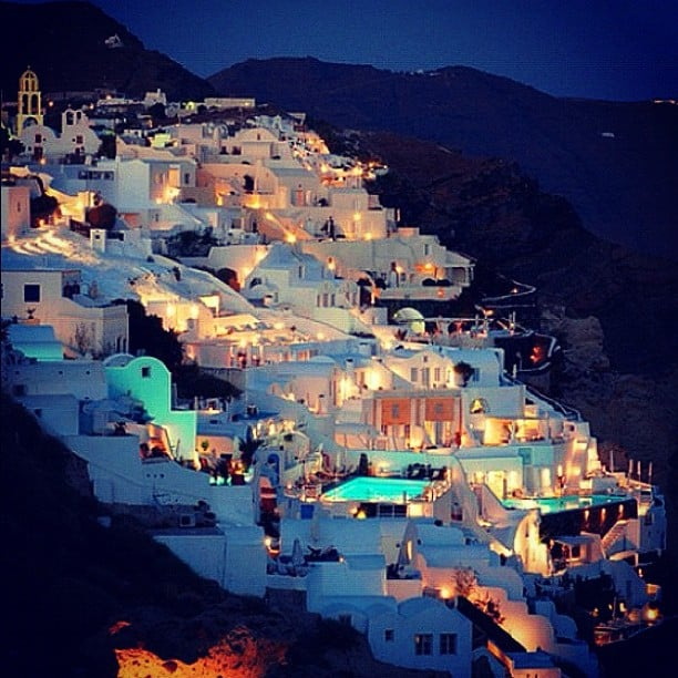santorini at night, santorini color
