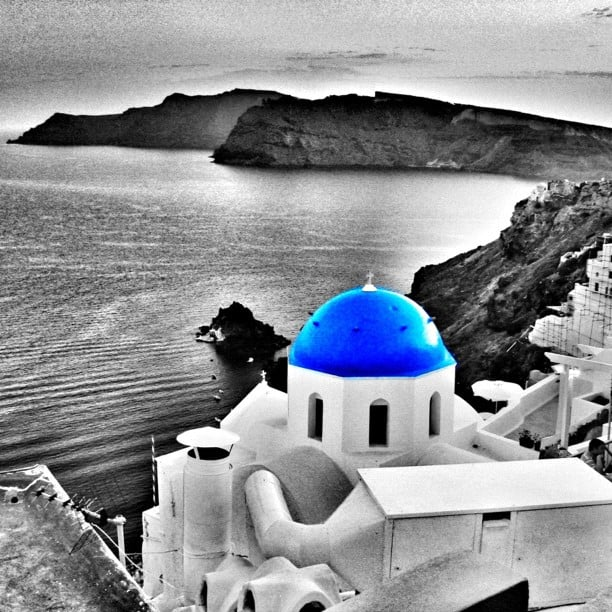 santorini blue and white buildings instagram