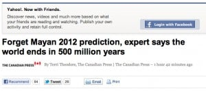 end of the world from yahoo headline