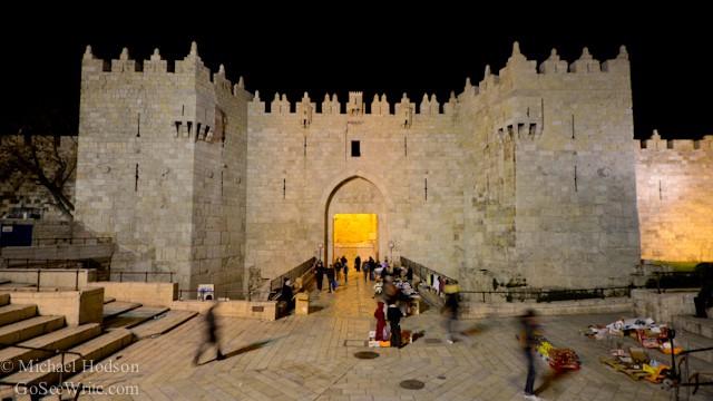 jerusalem damascus gate at night