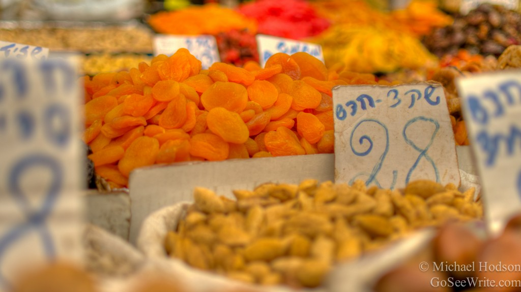 dried oranges and nuts at jerusalem market