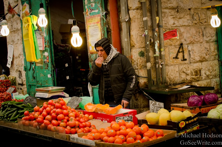 fruit seller on winter day