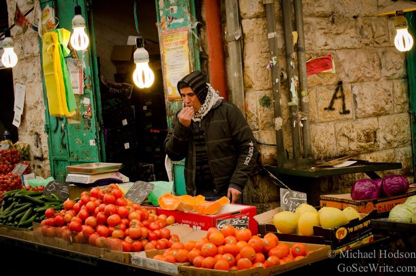 fruit seller on winter day