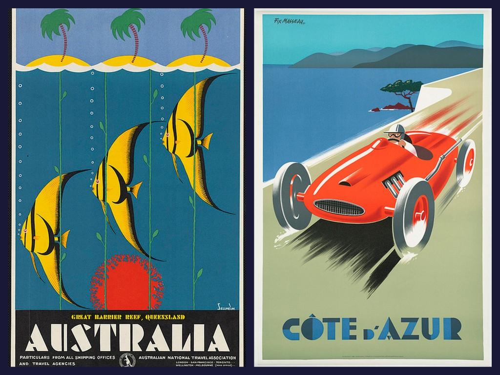 australia and cote d azur vintage travel posters