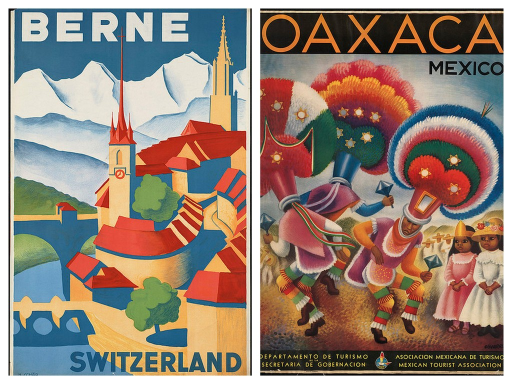 berne and oaxaca vintage travel posters