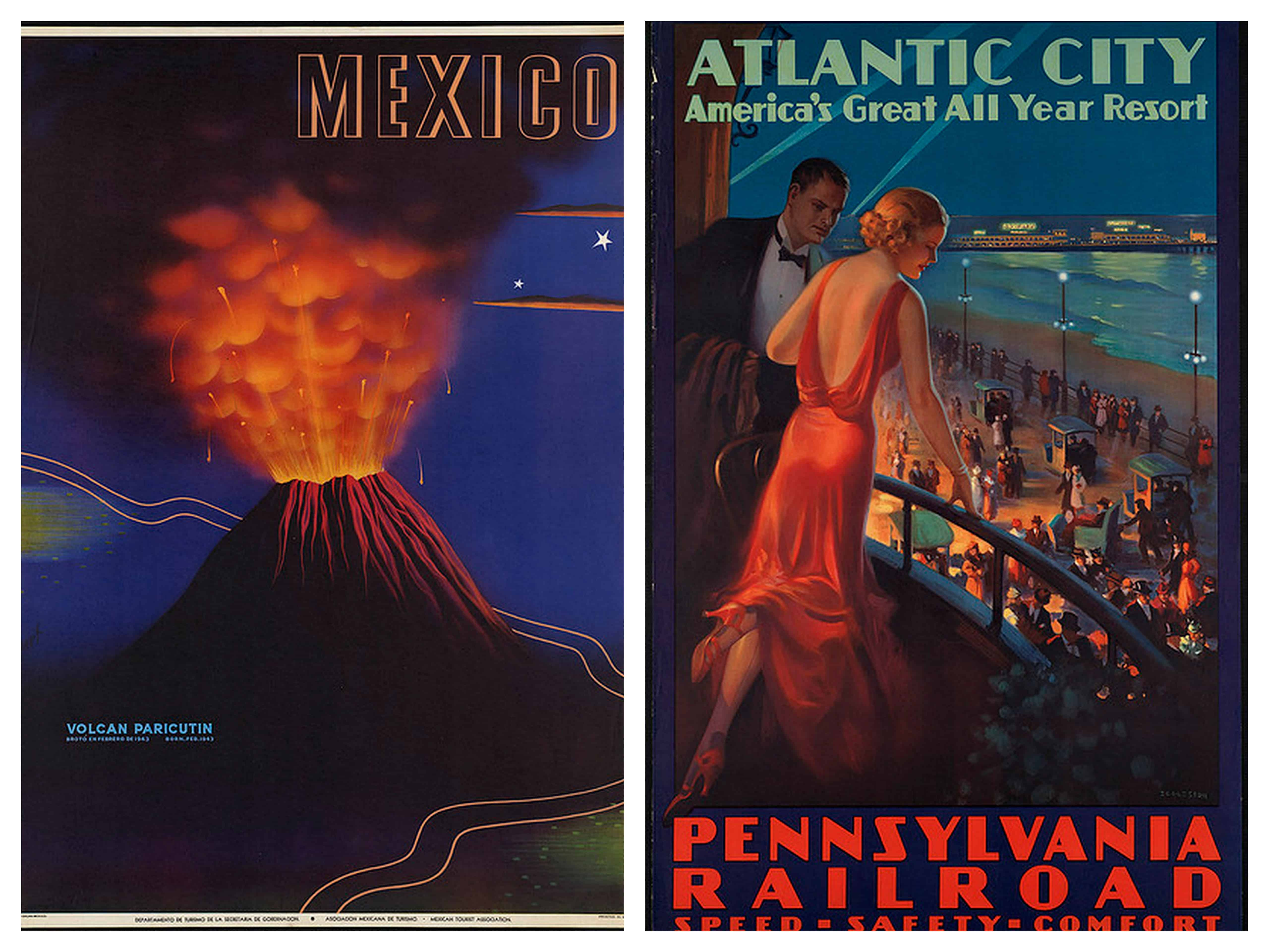 Mexico And Atlantic City Vintage Travel Poster
