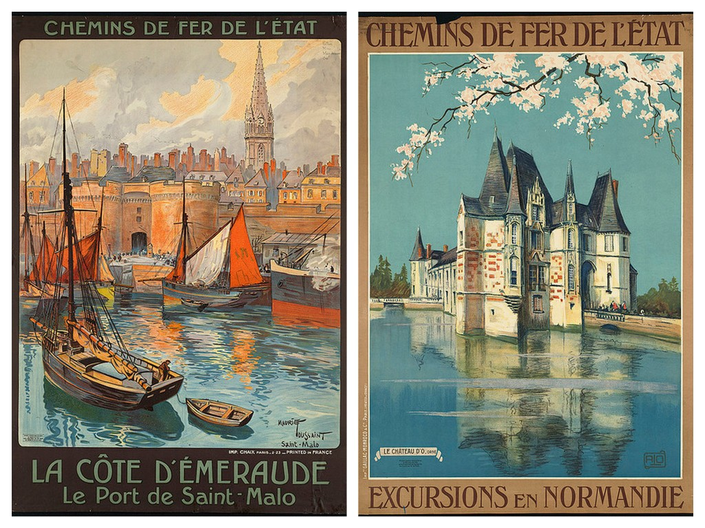 normandy and france vintage travel posters