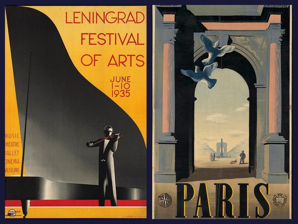 russia and paris vintage travel posters