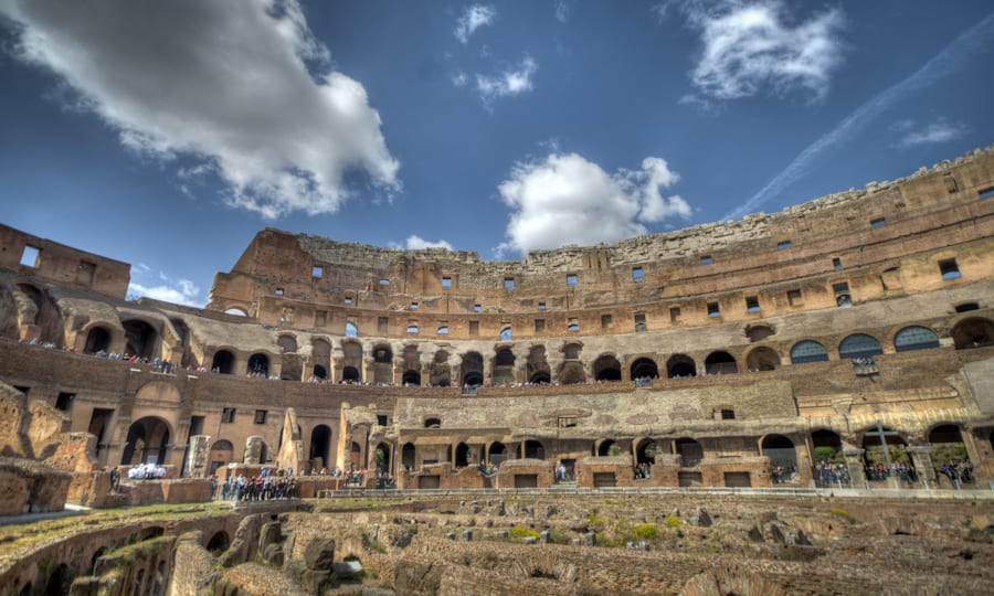 Colosseum from the inside in rome italy