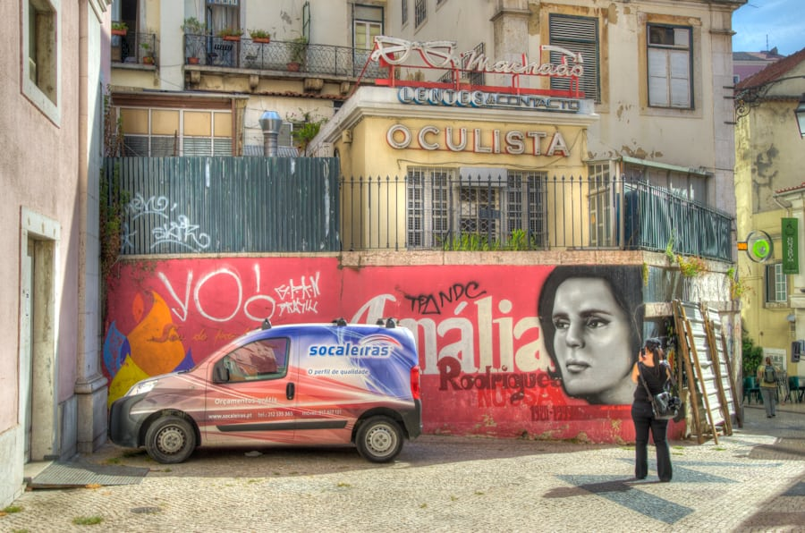 colorful political graffiti in lisbon