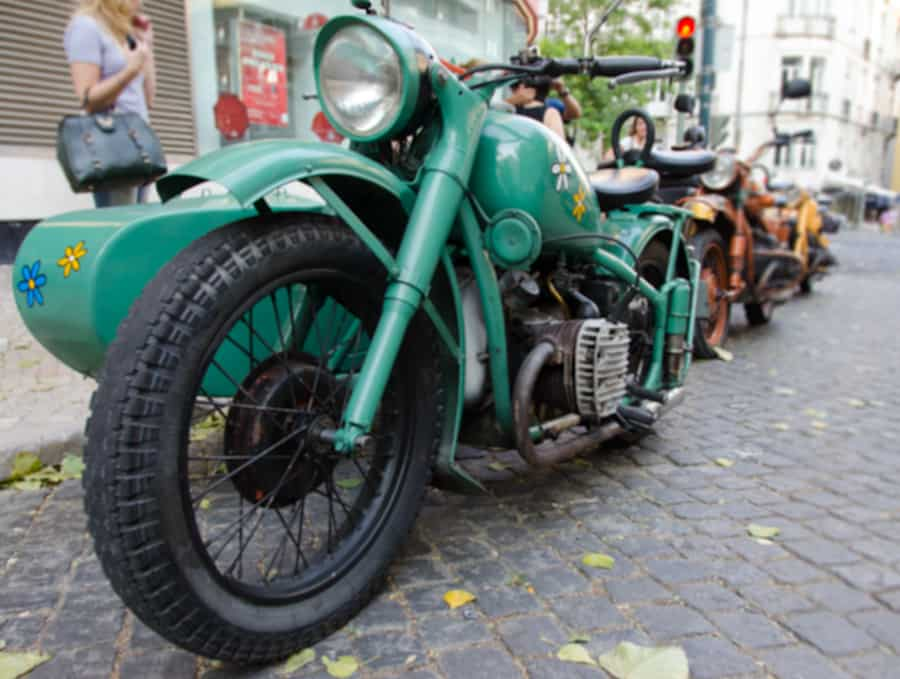 sidecar on motorcycle closeup