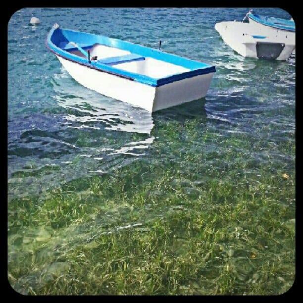 blue rowboat in lake in costa brava