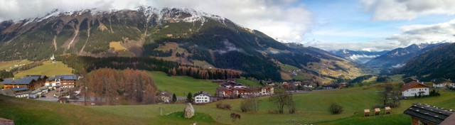 wide view of alps villages and snow