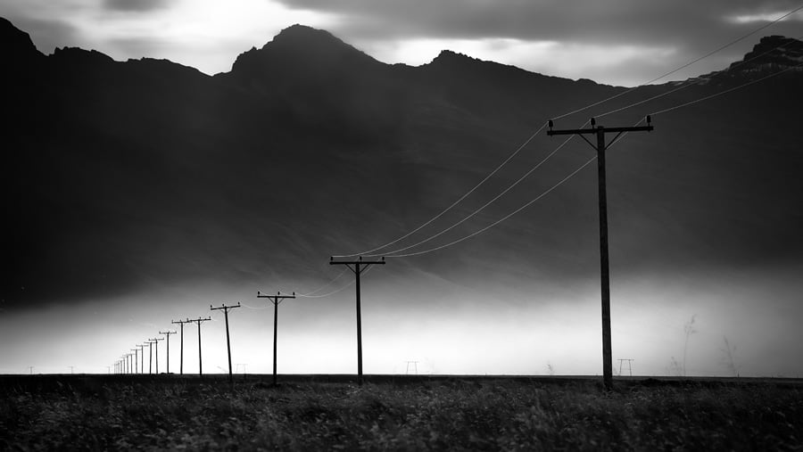 Powerlines in southern Iceland