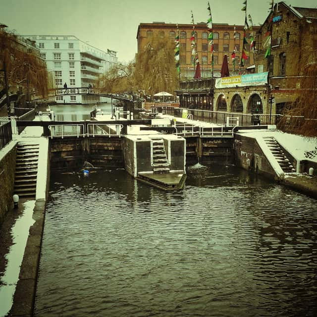 camden locks in winter snow