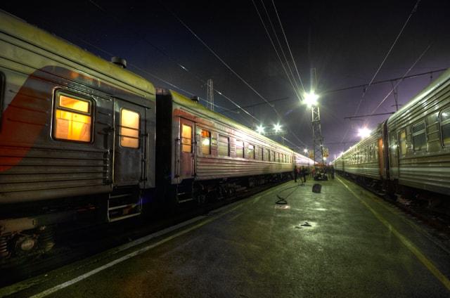 trans-siberian train at night at station
