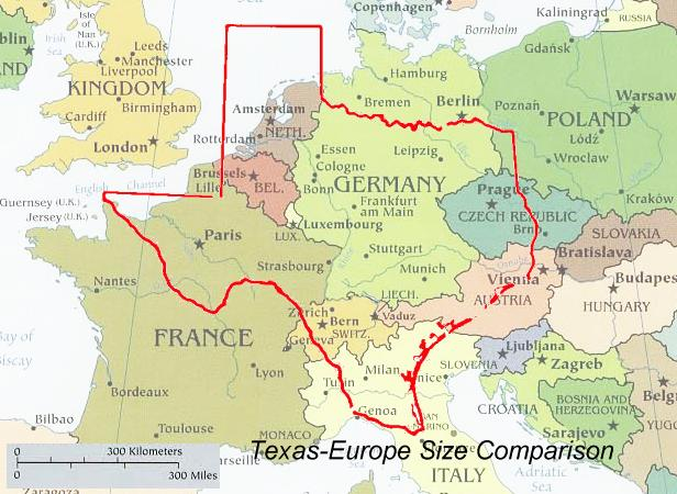 compare size texas verses europe