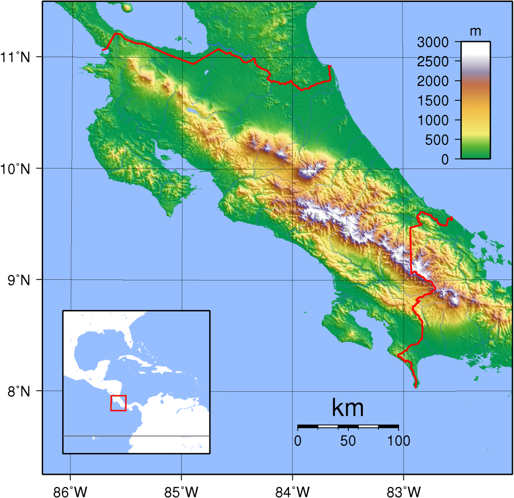 topographical map of costa rica