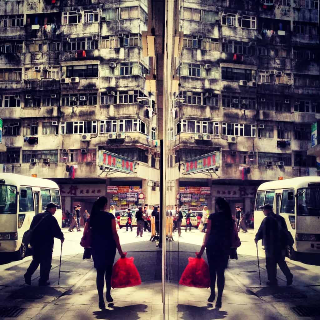 instagram Reflected shopper with a red bag, Wan Chai.