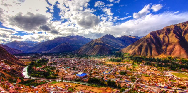 peru sacred valley from above with clouds