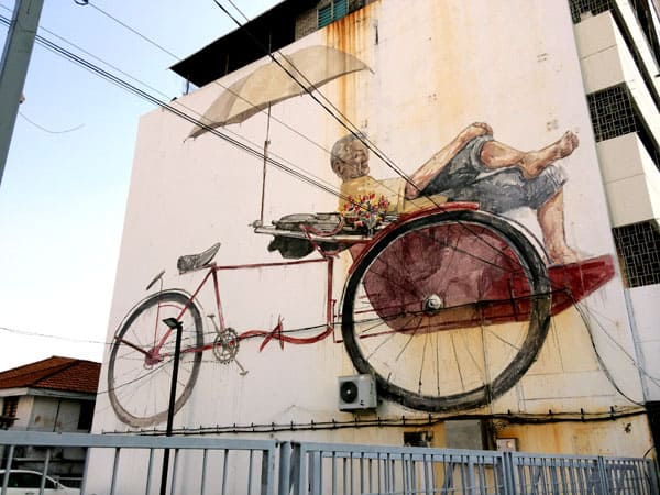 Penang Street Art - Trishaw Uncle Wall EZ