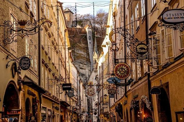 The wrought-iron signs on Getreidegasse in Salzburg, Austria.