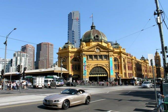 Flinders Street & Federation Square in Melbourne, Australia