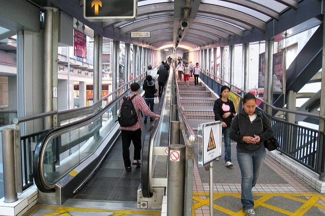Largest escalator in the world in Hong Kong