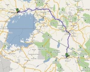 Map between Arusha, Tanzania and Kampala, Uganda