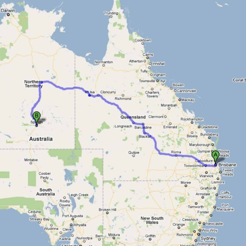 map of route from brisbane to alice springs, australia