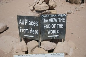 sign petra saying view at the end of the world