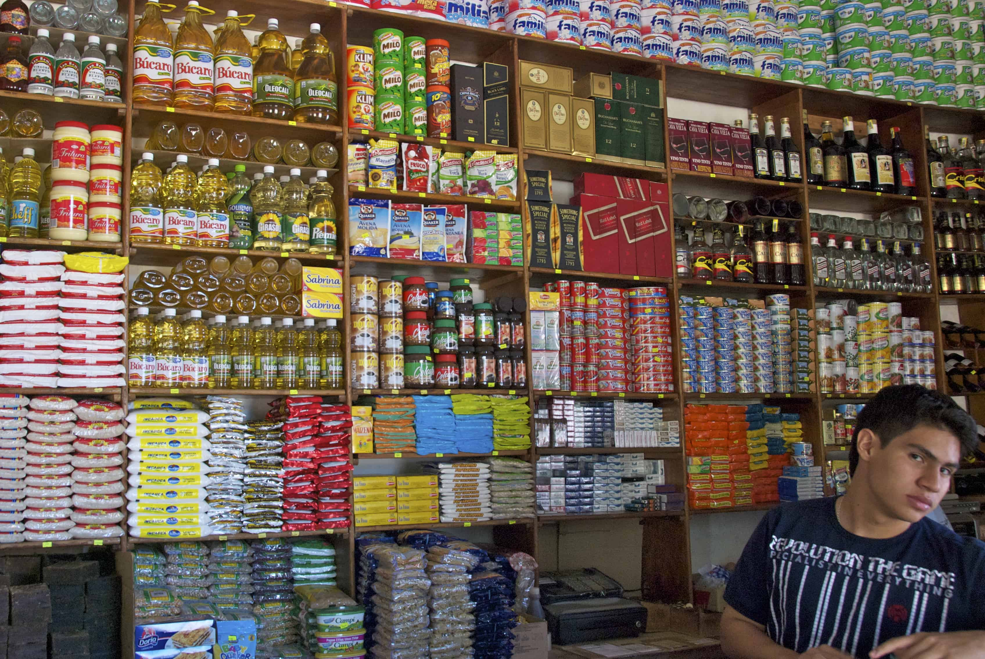 inside a grocery store in Barichara, Colombia