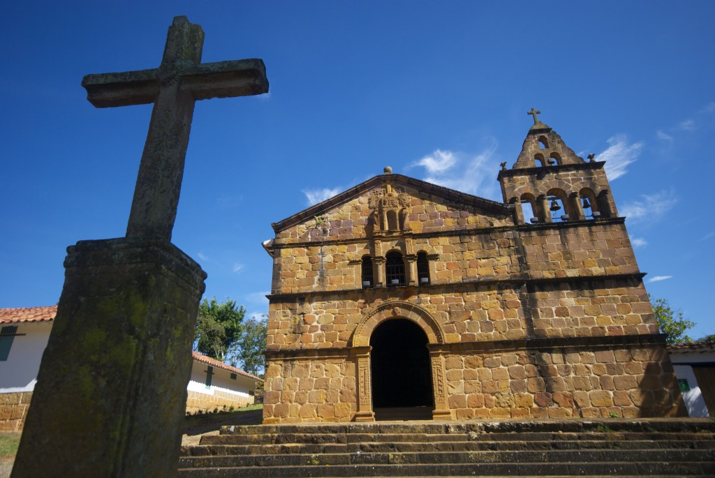 the Catholic church on the hill in Barichara, Colombia
