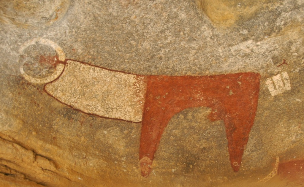 laas gaal ancient rock art, red and white cow, rock art
