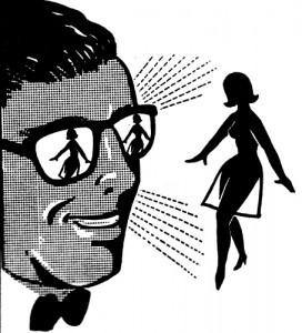 X-Ray vision goggles looking at a naked woman