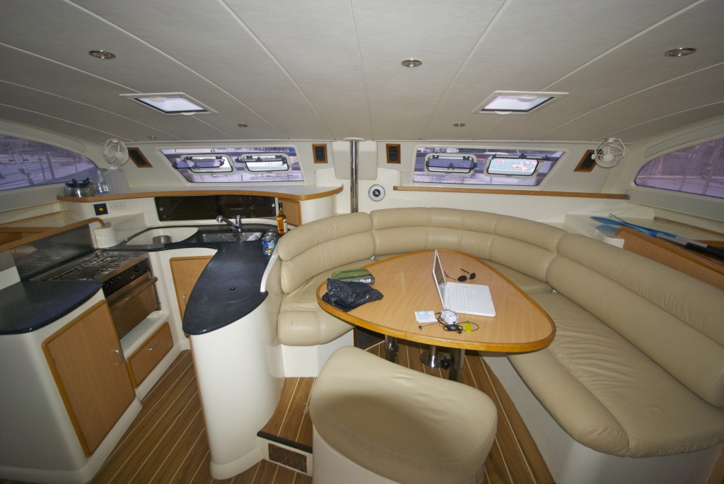 kitchen and living room moorings catamaran sailboat grenada