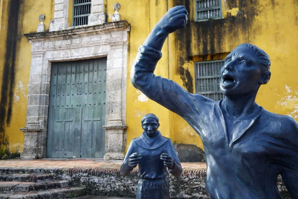 religious statue outside catholic church old town cartagena colombia