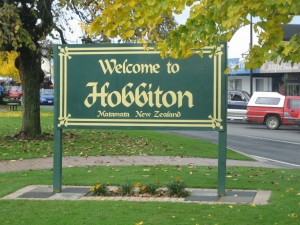 Sign for Hobbiton New Zealand
